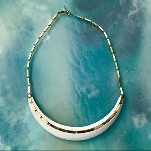 VTG 1950's/1960's Half Moon White & Gold Necklace